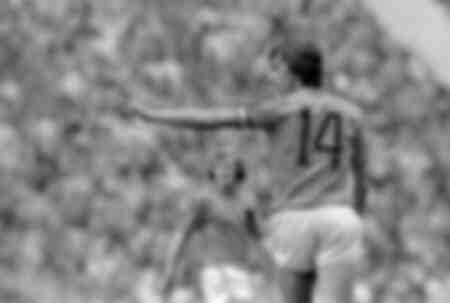 Johann Cruyff durante la finale dei Mondiali di calcio tra Germania e Paesi Bassi