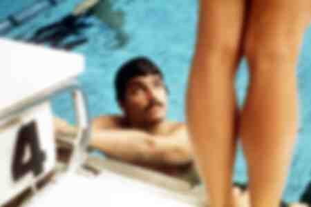 Mark Spitz at the poolside