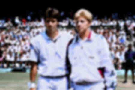 Michael Stich och Boris Becker vid Wimbledon-turneringsfinalen 1991 för män