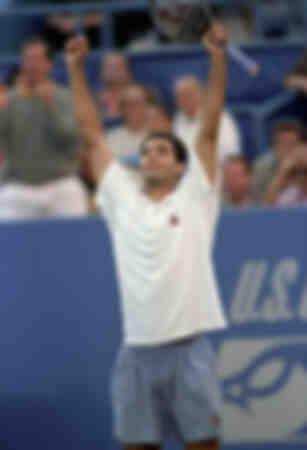 Pete Sampras firar sin seger vid US Open Tennis Championship i New Yorks Flushing Meadows