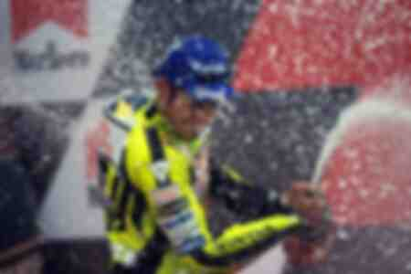 Valentino rossi celbrating his victory