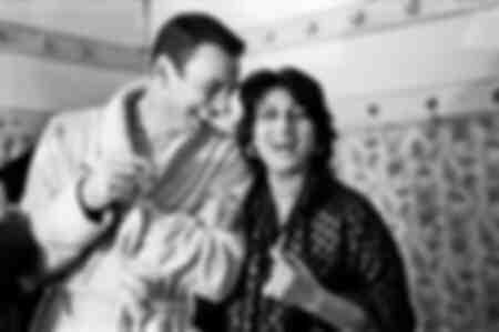 Yves Montand e Anna Magnani nel camerino del teatro Sistina