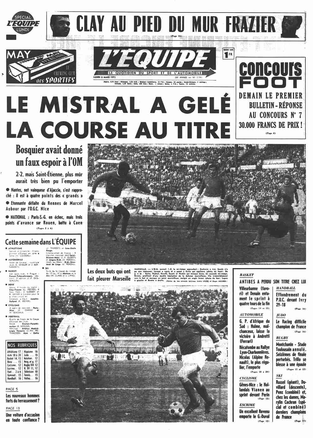 L'Équipe Front Page from March 08, 1971