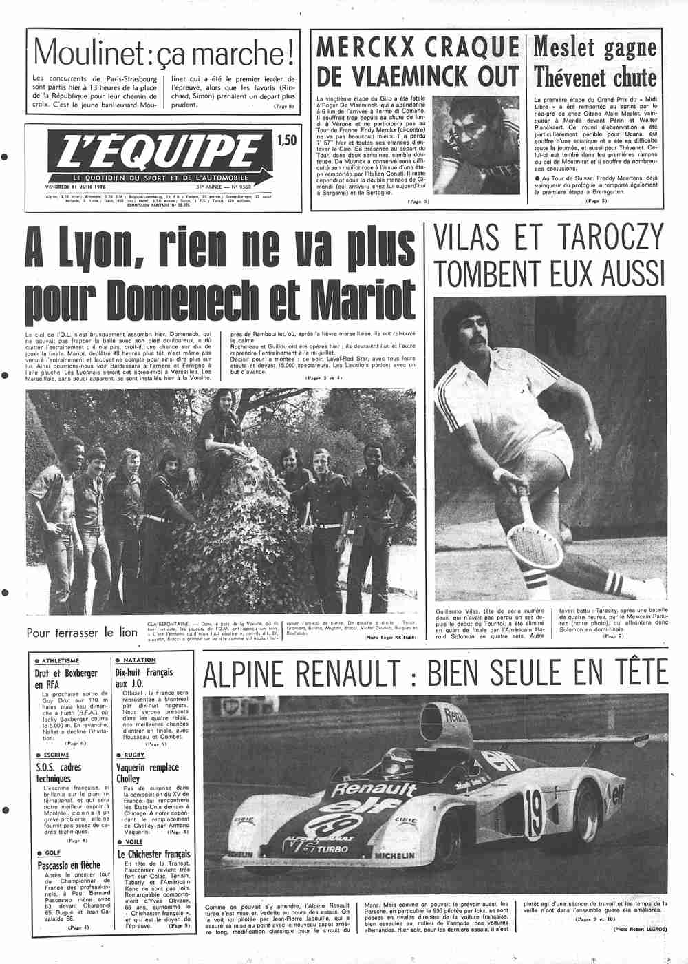 Léquipe Front Page From June 11 1976