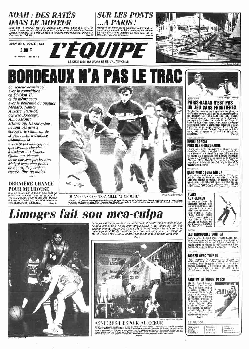 L équipe Front Page From January 13 1984